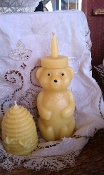Pure beeswax honeybear candle pictured with beeswax skep sold seperately.